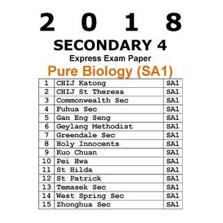 2018 Sec 4 Pure Biology Mid Year exam paper / SA1 / soft copy / hard copy