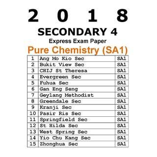 2018 Sec 4 Pure Chemistry Mid Year exam paper / SA1 / soft copy / hard copy