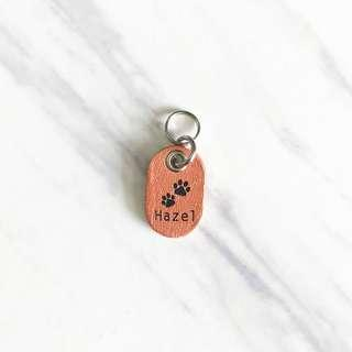 Rose Gold Double Paws Tiny Pet Tags Silent Noiseless Dog Cat Small Mini Lightweight Handmade Painted Leather ID Tag Custom Personalized