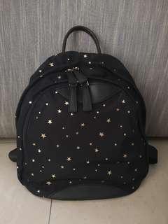 Gold printed star nylon backpack (black)