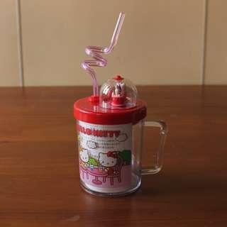 Sanrio 三麗鷗 Hello Kitty 2004透明塑膠圖案吸管水杯 玩偶會動