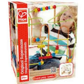 🚚 Award Winning Hape Original Supermaze Wooden Bead Activity Learning Center - Non Toxic, Child Safe, Award Winning Parenting Magazine's Toy Hall of Fame