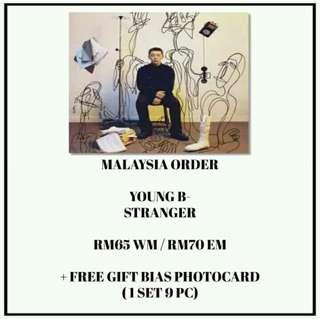 YOUNG B - STRANGER - PREORDER/NORMAL ORDER/GROUP ORDER/GO + FREE GIFT BIAS PHOTOCARDS (1 ALBUM GET 1 SET PC, 1 SET HAS 9 PC)