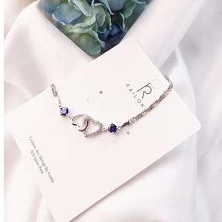 🚚 【現貨】正韓 雙鏤空甜心 紫水晶鋯石手鍊-鍊身925銀刻字