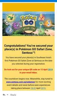 🚚 Pokemon Go Safari Zone Sentosa 1pax ticket on 22nd April 2018