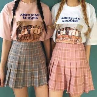 🚚 (preorder) checkered plaid grid pleated mini skirt