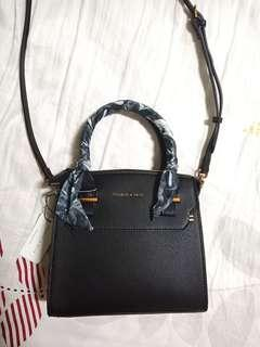 RTP $90 BNWT Charles & Keith scarf detail leather sling bag