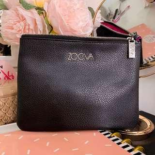 Zoeva make up leather pouch • Black pink silver • approx 9 x 7.25 inches • Cosmetics bag / clutch bag