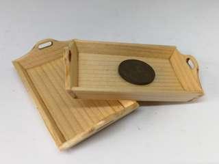 🚚 Dollhouse Miniature : 2pcs of wooden tray