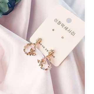 🚚 【現貨】正韓 鋯石花朵水滴圈耳夾-玫瑰金粉