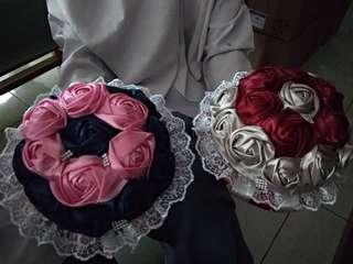 Buket bunga pita satin handmade