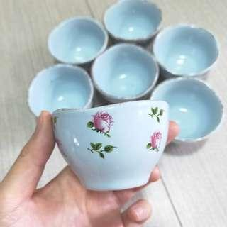 Set of 7! Blue Floral Rose Design Sauce Bowls / Can used as tea cups or display pieces!