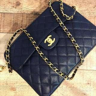5d689cb3031a RESERVED Authentic Chanel Navy Blue Caviar Camera Bag w 24k Gold Hardware