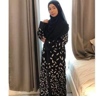 🚚 Zahra Abaya elegant leaf sequined embroidered mesh Abaya