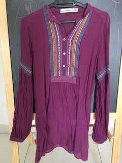 Zara tunic top with embroidery