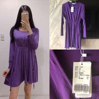 全新原價4900)專櫃名媛紫色縮腰綁繩洋裝