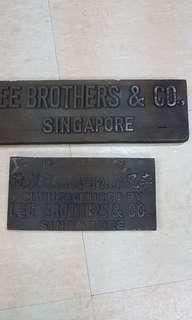 Vintage Lee Brothers & Co. Singapore wooden  sign