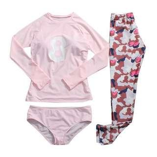 *In Stock* Long Sleeve and Pants 3 piece Swimsuit Set - M and L