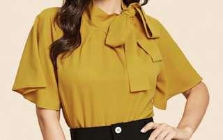 Yellow girly / office top