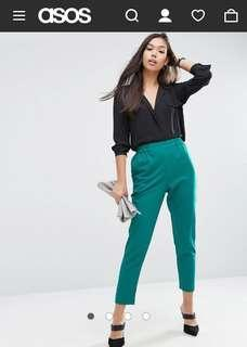 ASOS Woven Peg Pull On Pants in Jade - Size 10