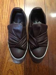 Wittner Burgundy Maroon Leather Bow Shoes Size 5-6