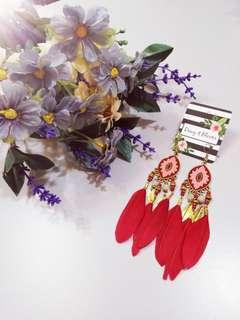 DEWY & BLOOM RED STATEMENT FEATHER EARRING #APR75