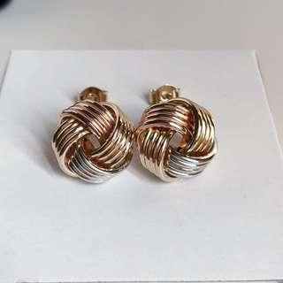 14k Knot Tricolor Gold Earrings