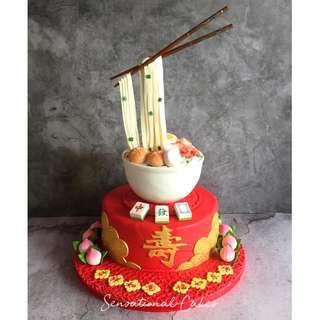 Longevity 3d figurine noodle soup shrimp dimsum cake art prosperity cake #singaporecake