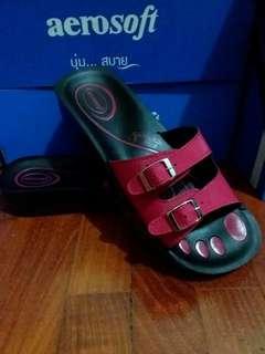 Aerosoft Red Slipon Slipper (Ladies)