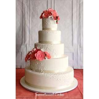 Wedding 5 tier floralcake art customized 3d cake #singaporecake