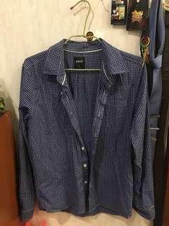 🚚 二手CACO 藍格子襯衫M號