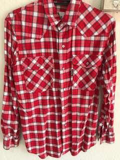 Checkered Shirt Top in Red