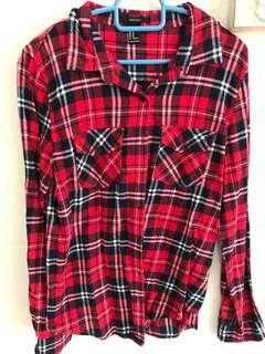 Forever 21 Checkered Shirt in Red