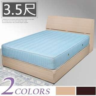 Y760-【免組裝專人送府】素色極簡風(寬106)單人床組〔床頭箱+床底〕+二線獨立筒床墊-二色可選