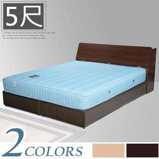 Y761-【免組裝專人送府】素色極簡風(寬152)雙人床組〔床頭箱+床底〕+二線獨立筒床墊-二色可選