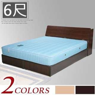 Y762-【免組裝專人送府】素色極簡風(寬182)雙人加大床組〔床頭箱+床底〕+二線獨立筒床墊-二色可選