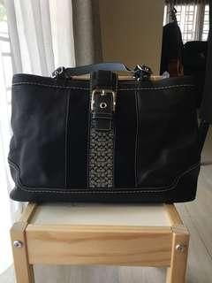 (Sold) Authentic Coach Black Leather Tote with Suede Stripe