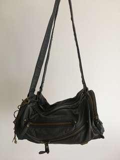 [REDUCED] TONY BIANCO Acid Wash Handbag With Zippers