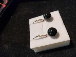 🚚 天然黑翠10mm耳環
