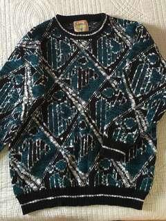 Blue green printed Knitted Sweater
