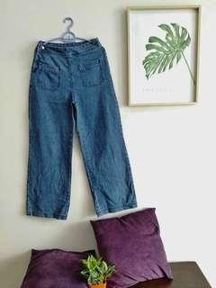 Long loose denim pants