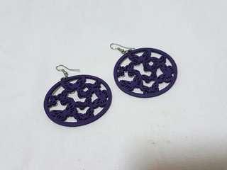 紫花蝴蝶耳環