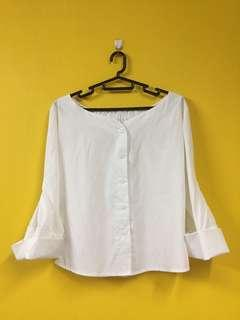 White Off shoulder Blouse with Trumpet Sleeve