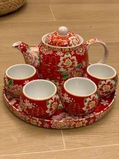 結婚用品 囍字茶杯一對