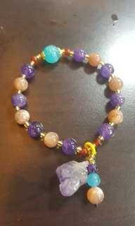 紫水晶+多采圓珠漂亮小資手串