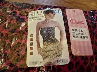 全新Daima 紫紅色豹紋平口連身裙束衣塑身衣