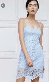 🚚 Ohvola Crochet Crush Blue Lace Dress