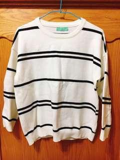 🚚 韓版經典條紋圓領針織毛衣