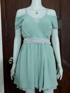 XS-S green formal cold shoulder mini girls dress