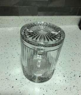 Glass crystal canister with cover Cookie Jar